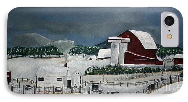 IPhone Case featuring the painting Amish Farm - Winter - Michigan by Jan Dappen