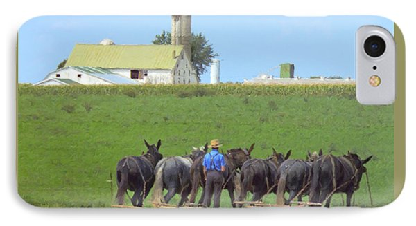 Amish Farmer Working The Land IPhone Case by Diane Diederich