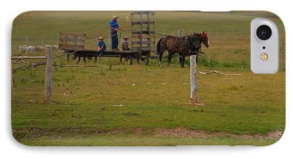 Amish Man And Two Sons On The Farm IPhone Case