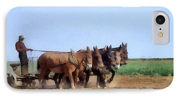 Amish Man Plowing The Fields IPhone Case by Dan Sproul
