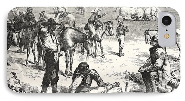 Among The Cow Boys, Cowboy, Cowboys, Western, Male IPhone Case by American School