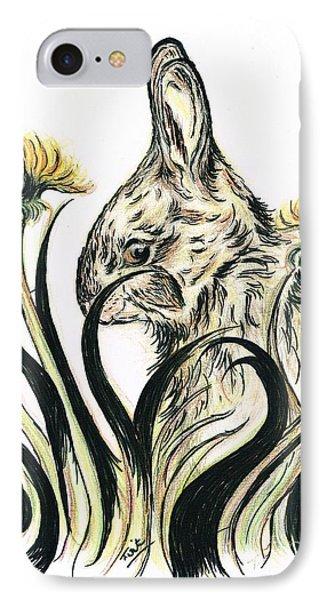 Rabbit- Amongst The Dandelions IPhone Case by Teresa White