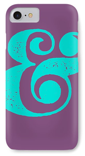 Ampersand Poster Purple And Blue IPhone 7 Case by Naxart Studio