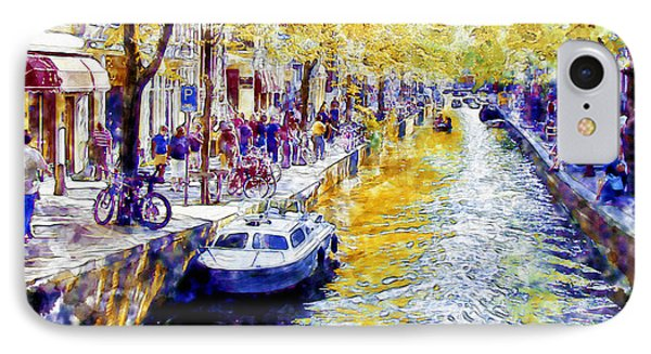 Amsterdam Canal Watercolor IPhone Case by Marian Voicu