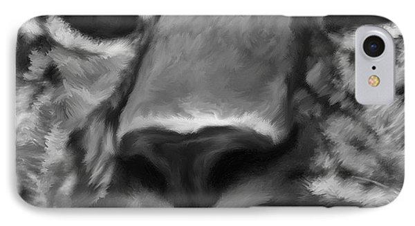Amur Leopard Digital Freehand Bw Painting IPhone Case by Ernie Echols