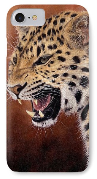 Amur Leopard Painting IPhone 7 Case by Rachel Stribbling