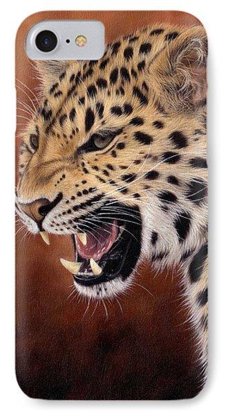 Amur Leopard Painting IPhone 7 Case by Rachel Stribbling