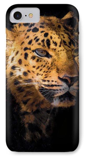 Amur Leopard Portrait 2 IPhone Case by Ernie Echols