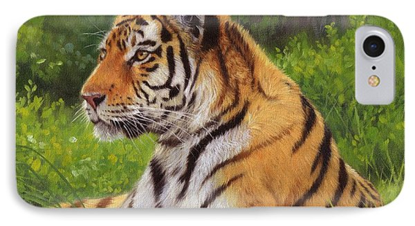 Amur Tiger Painting IPhone Case by David Stribbling