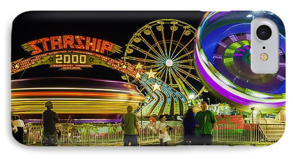 IPhone Case featuring the photograph Amusement Park Rides At Night by Bob Noble Photography