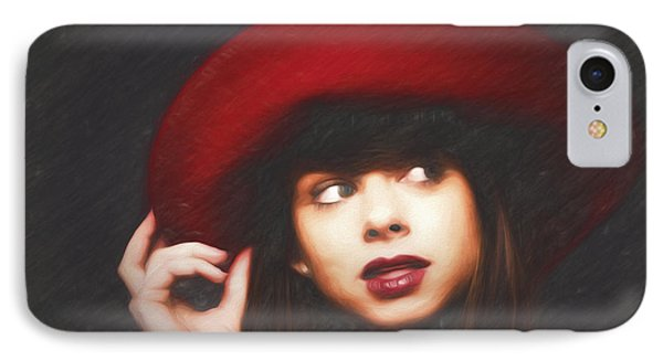 Amy And The Red Hat  ... IPhone Case by Chuck Caramella