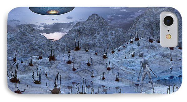 An Alien Reptoid Being Signaling Phone Case by Mark Stevenson