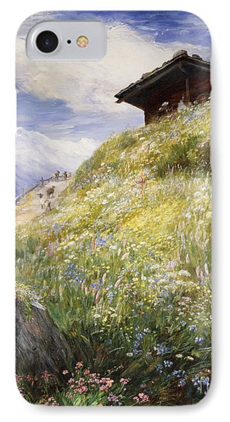 An Alpine Meadow Switzerland IPhone Case by John  MacWhirter