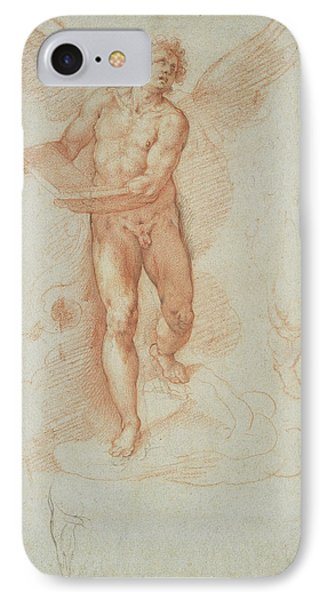 An Angel Holding A Book Recto,  Three Studies Of A Falling IPhone Case by Litz Collection