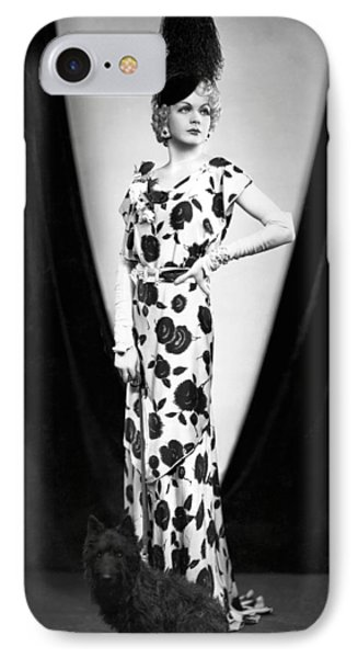An Elegant Woman Poses With Her Dog. IPhone Case by Underwood Archives