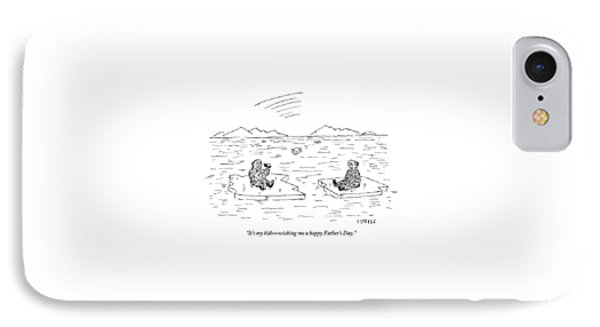 An Eskimo Floating On An Ice Float Holding IPhone Case by David Sipress