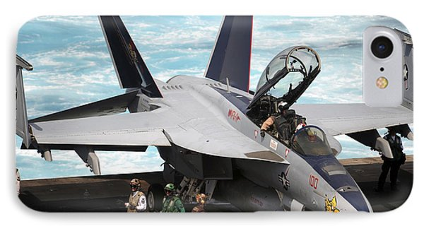 An Fa-18f Super Hornet Sits Phone Case by Stocktrek Images