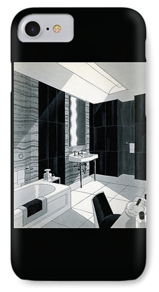 An Illustration Of A Bathroom IPhone Case