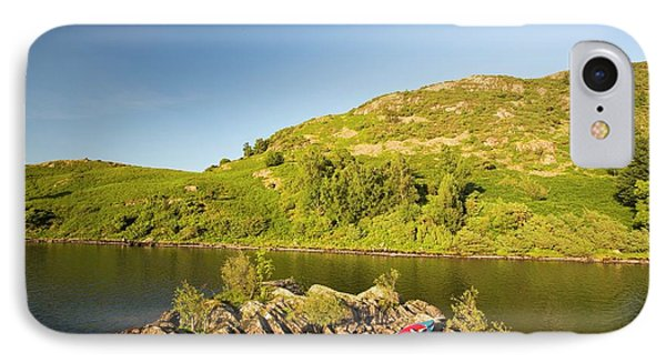 An Inflatable Kayak On Ullswater IPhone Case by Ashley Cooper