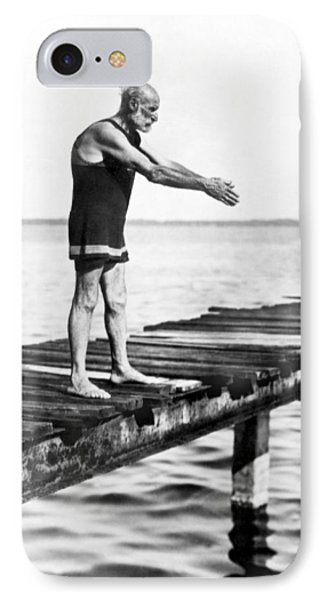 An Old Man Prepares To Dive IPhone Case by Underwood Archives