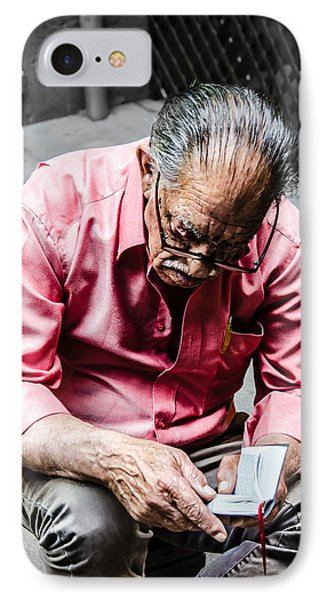 An Old Man Reading His Book Phone Case by Sotiris Filippou