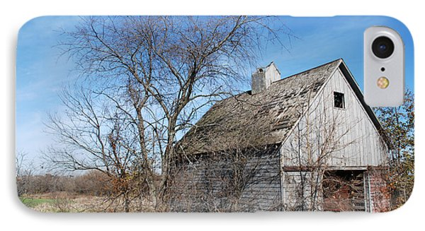 An Old Rundown Abandoned Wooden Barn Under A Blue Sky In Midwestern Illinois Usa IPhone Case
