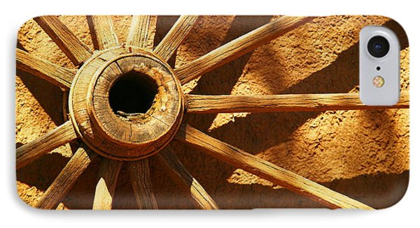 An Old Wagon Wheel In Carillos New Mexico Phone Case by Jeff Swan