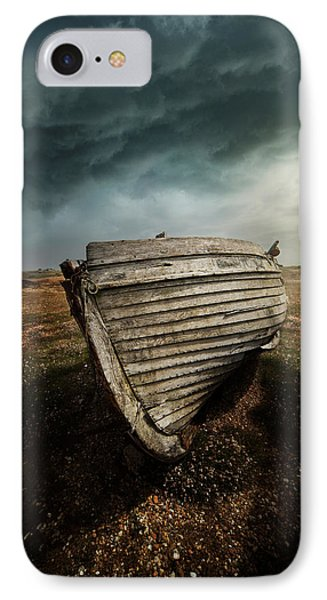 An Old Wreck On The Field. Dramatic Sky In The Background IPhone Case by Jaroslaw Blaminsky