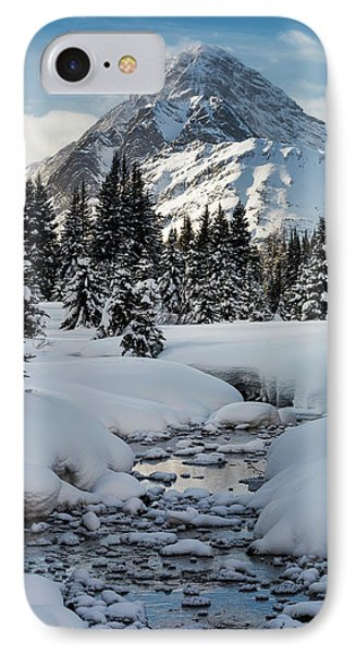 An Open Creek With Snow Covered Curvy IPhone Case by Michael Interisano