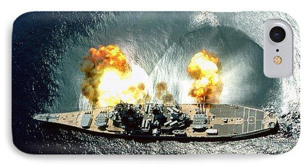 An Overhead View Of The Battleship Uss Iowa Bb61 Firing All 15 Of Its Guns IPhone Case