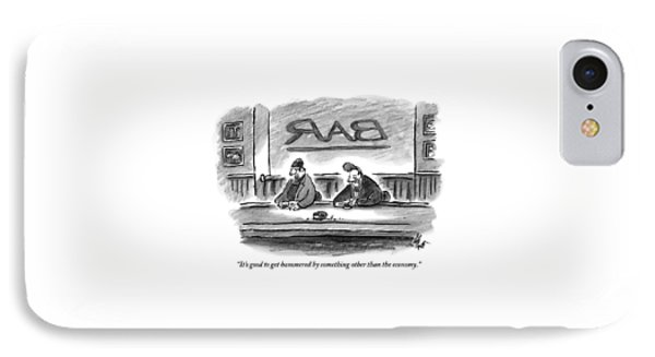 An Unshaven Man Says To Another Man At A Bar IPhone Case