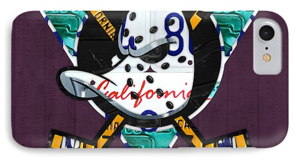 Anaheim Ducks Hockey Team Retro Logo Vintage Recycled California License Plate Art IPhone Case