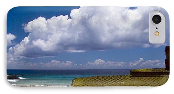 Anakena Beach With Ahu Nau Nau Moai Statues On Easter Island IPhone Case by David Smith