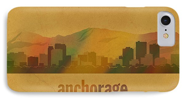 Anchorage Alaska City Skyline Watercolor On Parchment IPhone Case by Design Turnpike