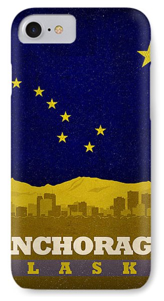 Anchorage City Skyline State Flag Of Alaska Art Poster Series 006 IPhone Case by Design Turnpike