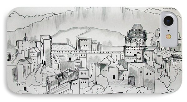 IPhone Case featuring the drawing Ancient City In Pen And Ink by Janice Rae Pariza