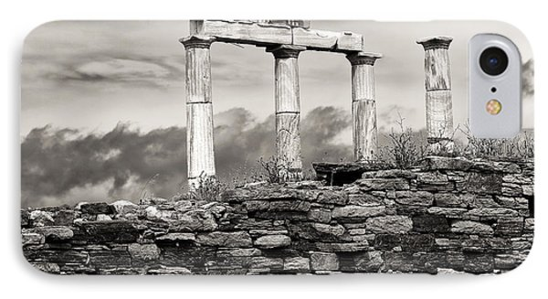 Ancient Columns On Delos Island IPhone Case by John Rizzuto
