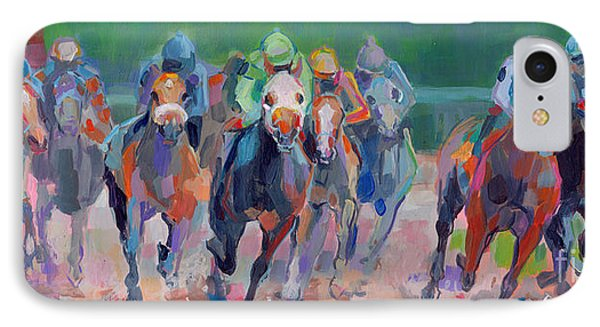 And Down The Stretch They Com IPhone Case by Kimberly Santini