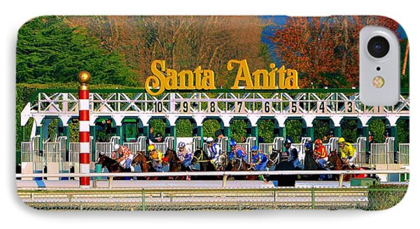 And They're Off At Santa Anita IPhone Case by Nadalyn Larsen