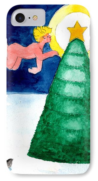 Angel And Christmas Tree Phone Case by Genevieve Esson