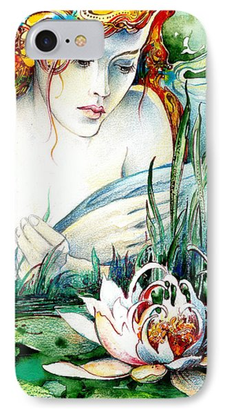 IPhone Case featuring the painting Angel And Lily by Anna Ewa Miarczynska