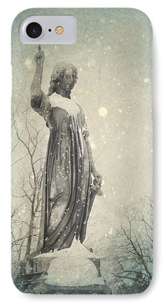 Snowy Gothic Stone Angel IPhone Case by Gothicrow Images