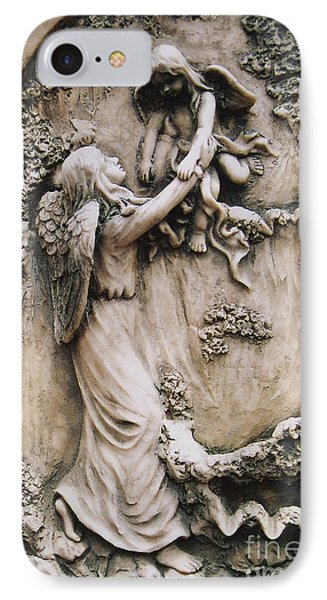 Angel Art - Angel Holding Baby Child Angel - Guardian Angel With Baby Child Angel Wings  IPhone Case by Kathy Fornal