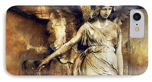 Angel Art - Surreal Gothic Angel Art Photography Dark Sepia Golden Impressionistic Angel Art IPhone Case