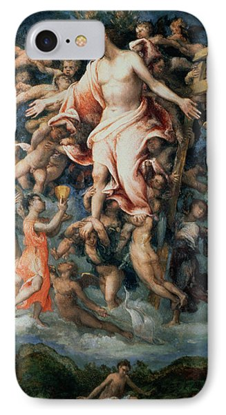 Angel Collecting Blood From The Wounds Of Christ, 1543 Panel IPhone Case by Lorenzo Lotto