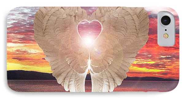 IPhone Case featuring the digital art Angel Heart At Sunset by Eric Kempson