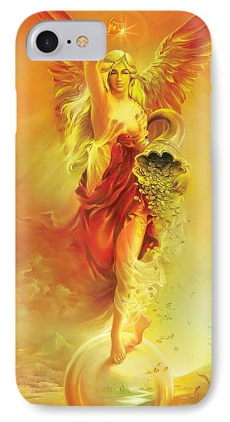 IPhone Case featuring the painting Angel Of Abundance - Fortuna by Anna Ewa Miarczynska