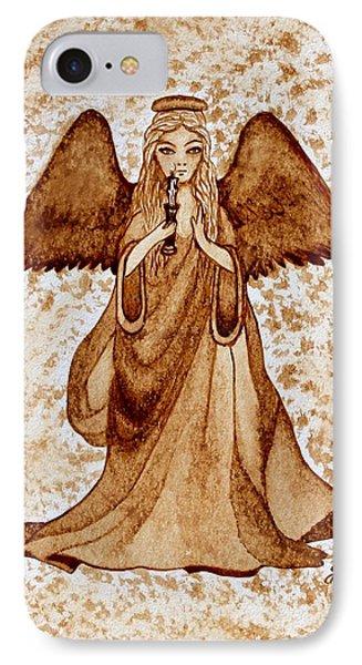 Angel Of Hope Original Coffee Painting Phone Case by Georgeta Blanaru
