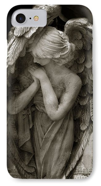 Angel Photography - Dreamy Spiritual Angel Art - Guardian Angel Art In Prayer  IPhone Case