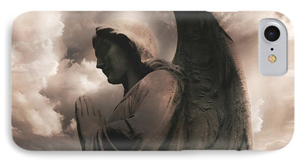 Angel Praying Heavenly Clouds Sepia Angel Art - Inspirational Angel In Prayer  IPhone Case by Kathy Fornal